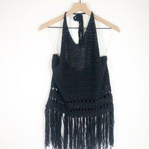 Umgee Black Knotted Fringe Crochet Knit Sweater L
